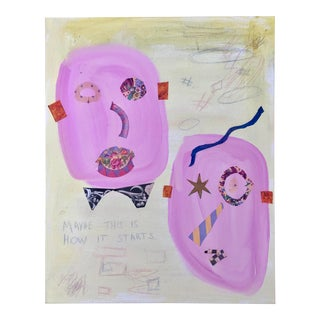 Pink and Yellow Abstract Painting by Virginia Chamlee For Sale