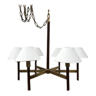 Radford Chandelier with Natural Brass and Natural Rift Oak For Sale