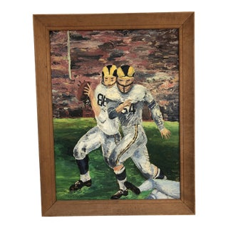 1960's Football Game Oil on Canvas For Sale