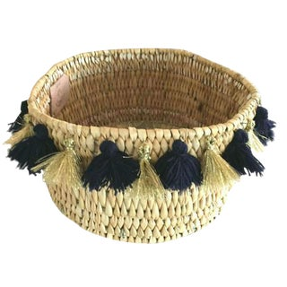 Moroccan Navy and Gold Tassel Small Basket For Sale