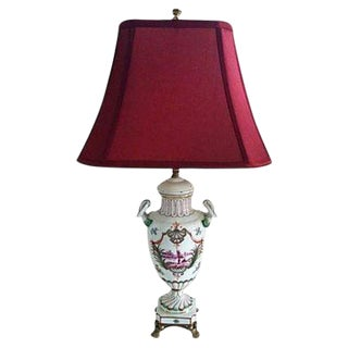 Italian Urn Table Lamp W/ Magenta Shade