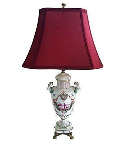 Italian Urn Table Lamp W/ Magenta Shade