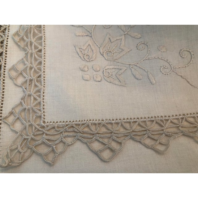 Tan Vintage Italian Linen Napkins Hand-Embroidered Reticella - Set of 12 For Sale - Image 8 of 13