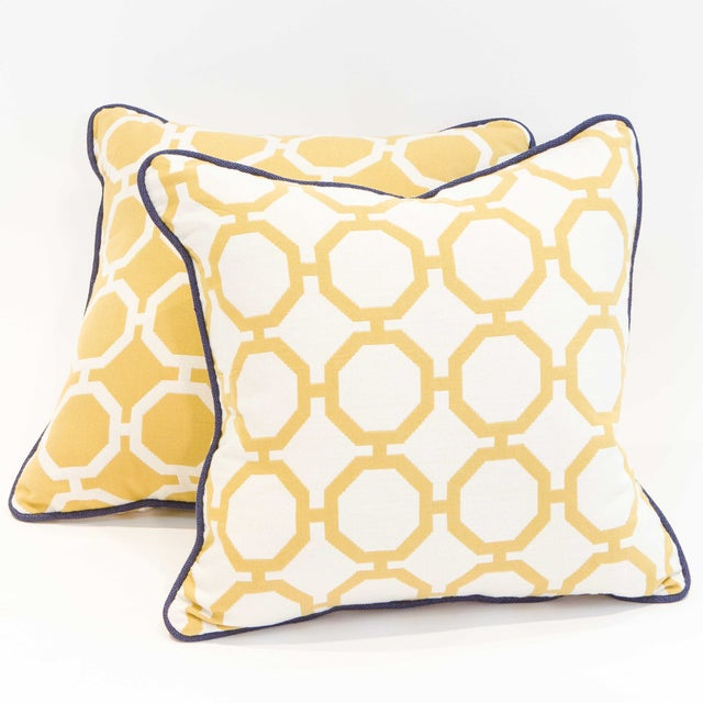 Yellow Geometric Pillows - A Pair - Image 2 of 6