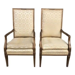 1900s French Silk Upholstered Armchairs - a Pair For Sale