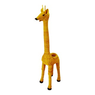 "Vintage Natural Wicker 61"" Giraffe Planter For Sale"
