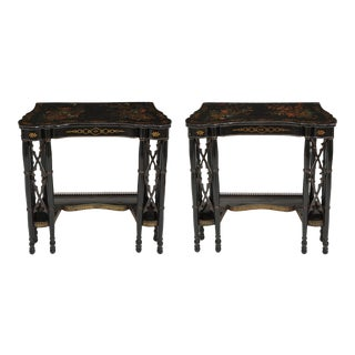 Fine Regency Black Painted and Chinese Lacquer Side Tables - a Pair For Sale
