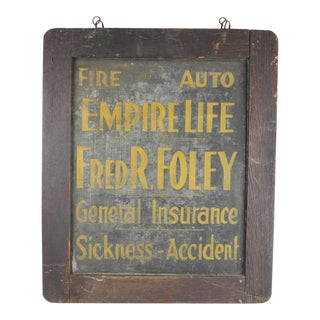 Antique Tin Insurance Sign For Sale