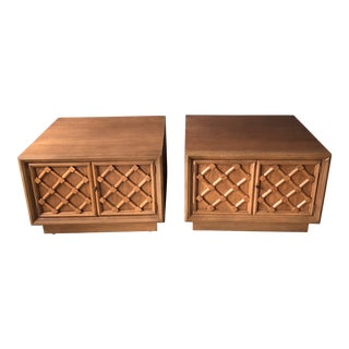 "Drexel ""Collage"" Side Tables With Cross-Hatch Doors - a Pair For Sale"