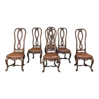 Set of 6 Antique Lyre Back Queen Anne Dining Chairs For Sale