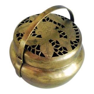Antique Chinese Brass Hand Warmer / Incense Burner Box