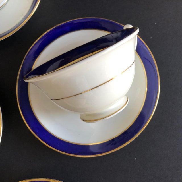 1940s Elegant Vintage Rose Design English Bone China Set of 7 Tea/Coffee Cups & Saucers For Sale - Image 5 of 8
