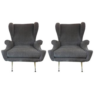 Circa 1960 Mid-Century Italian Gio Ponti Inspired Lounge Chairs - A Pair For Sale
