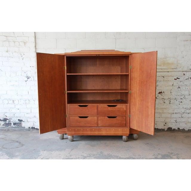 Baker Furniture Art Deco Style Burlwood Armoire - Image 5 of 11