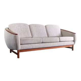 Barrel Sofa by R Huber in Original Tweed w/ a Teak Platform and Detailing, Canada For Sale