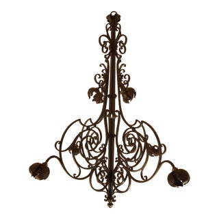 Large Hand Crafted Wrought Iron Signed Chandelier, France 1920s For Sale