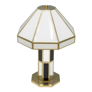 Rare Glass and Brass Table Lamp by Carl Zalloni for Cazal 1969 For Sale