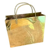 Image of 80s Realistic Brass Shopping Bag With Twisted Handles For Sale