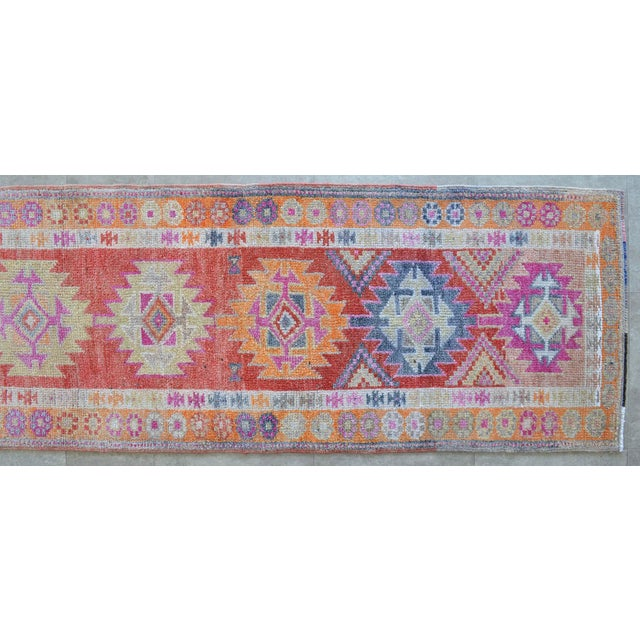 Textile Hand-Made Turkish Runner Rug. Muted Colors Tribal Herki Rug Runner Hallway Decor - 2′9″ × 11′4″ For Sale - Image 7 of 10