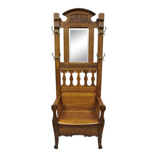 1900s Antique Eastlake Victorian Golden Tiger Oak Hall Coat Tree With Storage Bench For Sale