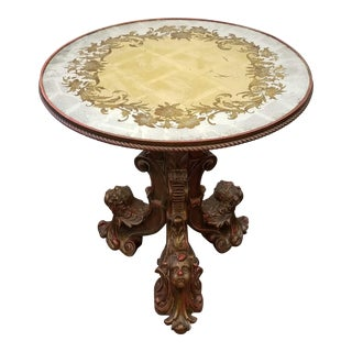 Antique Italian Barocco Gueridon Table With Putti and Verre Eglomise Top