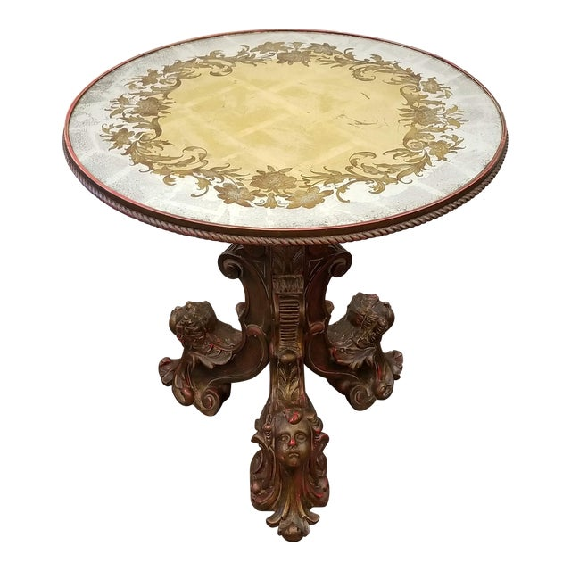 Antique Italian Baroque Center Table With Putti and Verre Eglomise Top For Sale