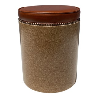 Cork and Leather Stool For Sale