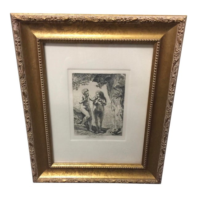 Rembrandt Etching Adam & Eve For Sale