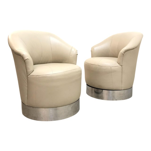 1980s Vintage J. Robert Scott Leather and Chrome Barrel Chairs- A Pair For Sale