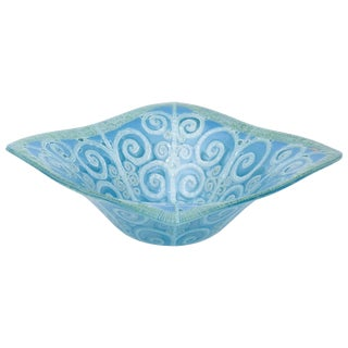 1960s Neoclassical Higgins Fused Glass Bowl For Sale