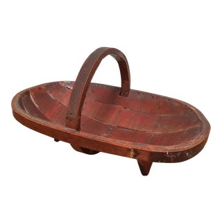 19th Century Antique Wooden Serving Basket For Sale