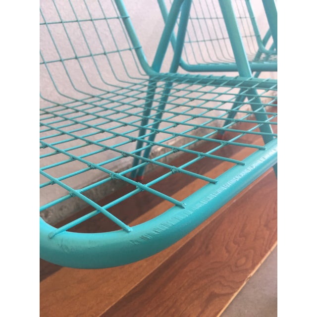 1950s Vintage Emu Industrial Metal Aqua Patio Chairs - Set of 4 For Sale - Image 4 of 13