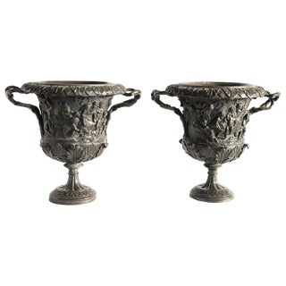 Pair of 1880 Italian Carved Bronze Vases by M. Amodio, Naples