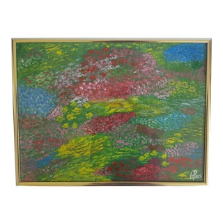 Original Acrylic Multicolor Field of Flowers Acrylic Painting Signed