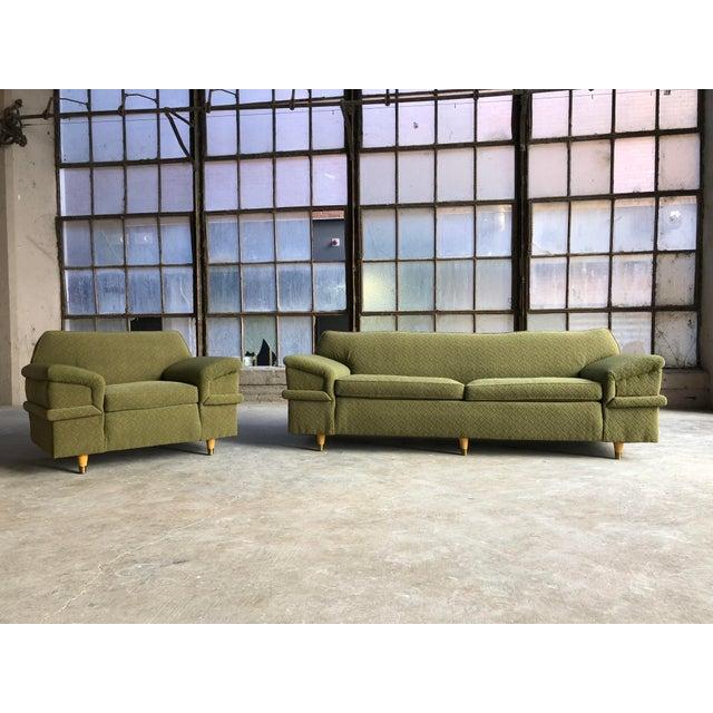 Kroehler Mid Century Modern Winged Green Sofa & Chair Set   Chairish