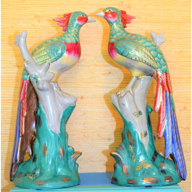 Early 21st Century Chinese Export Porcelain Pheonix Bird Figurines - a Pair For Sale - Image 5 of 13