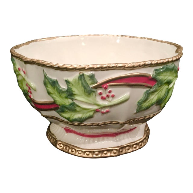 Vintage Late 20th Century Fitz and Floyd Christmas Dish With Holly Berries For Sale
