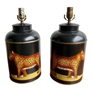 Tole Hand Painted Leopard Tea Caddy Lamps - a Pair For Sale