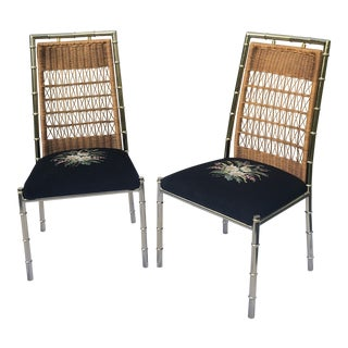 Vintage Chrome Faux Bamboo Chairs- a Pair For Sale