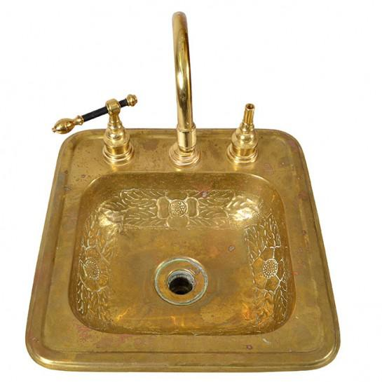 1920s Art Deco Brass Sink For Sale - Image 12 of 12