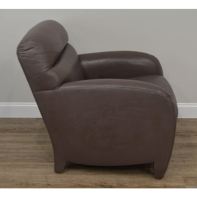 1990s Donghia Leather Lounge Chair With Ottoman For Sale - Image 5 of 13