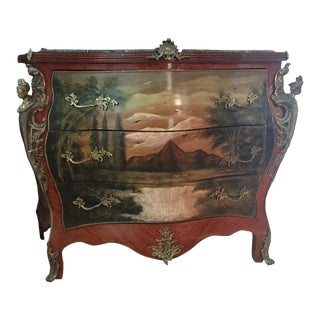 Vintage Louis XV Style Bombe Chest of Drawers For Sale