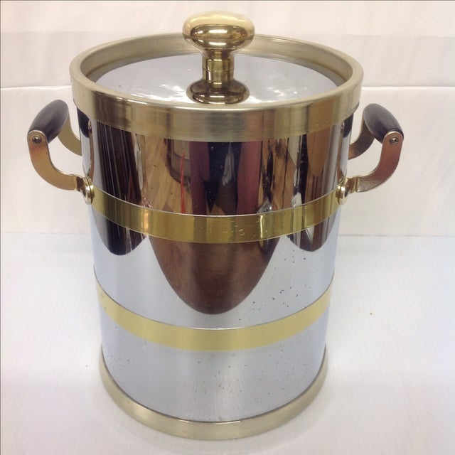 Hollywood Regency Mid-Century Chrome & Brass Ice Bucket For Sale - Image 3 of 6