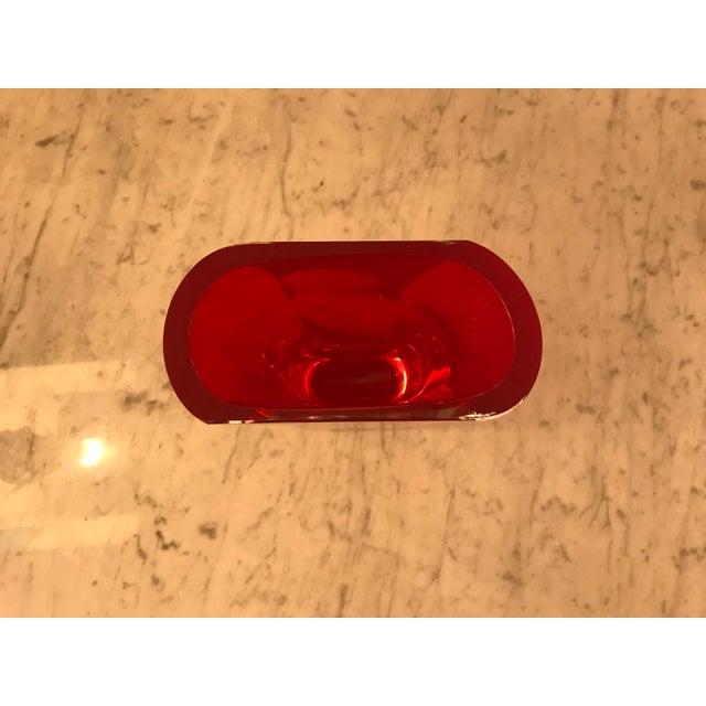 Art Deco Block Studio, Red Crystal Glass Vase, Vintage For Sale - Image 3 of 6