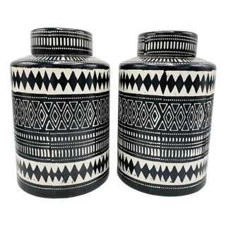 Bohemian Black and White Ceramic Ginger Jar Canisters, Pair For Sale