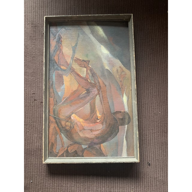 """Abstract 1950s """"Afternoon Image"""" Abstract Nude and Sunset Landscape Oil Painting by Lou Rogers, Framed For Sale - Image 3 of 6"""