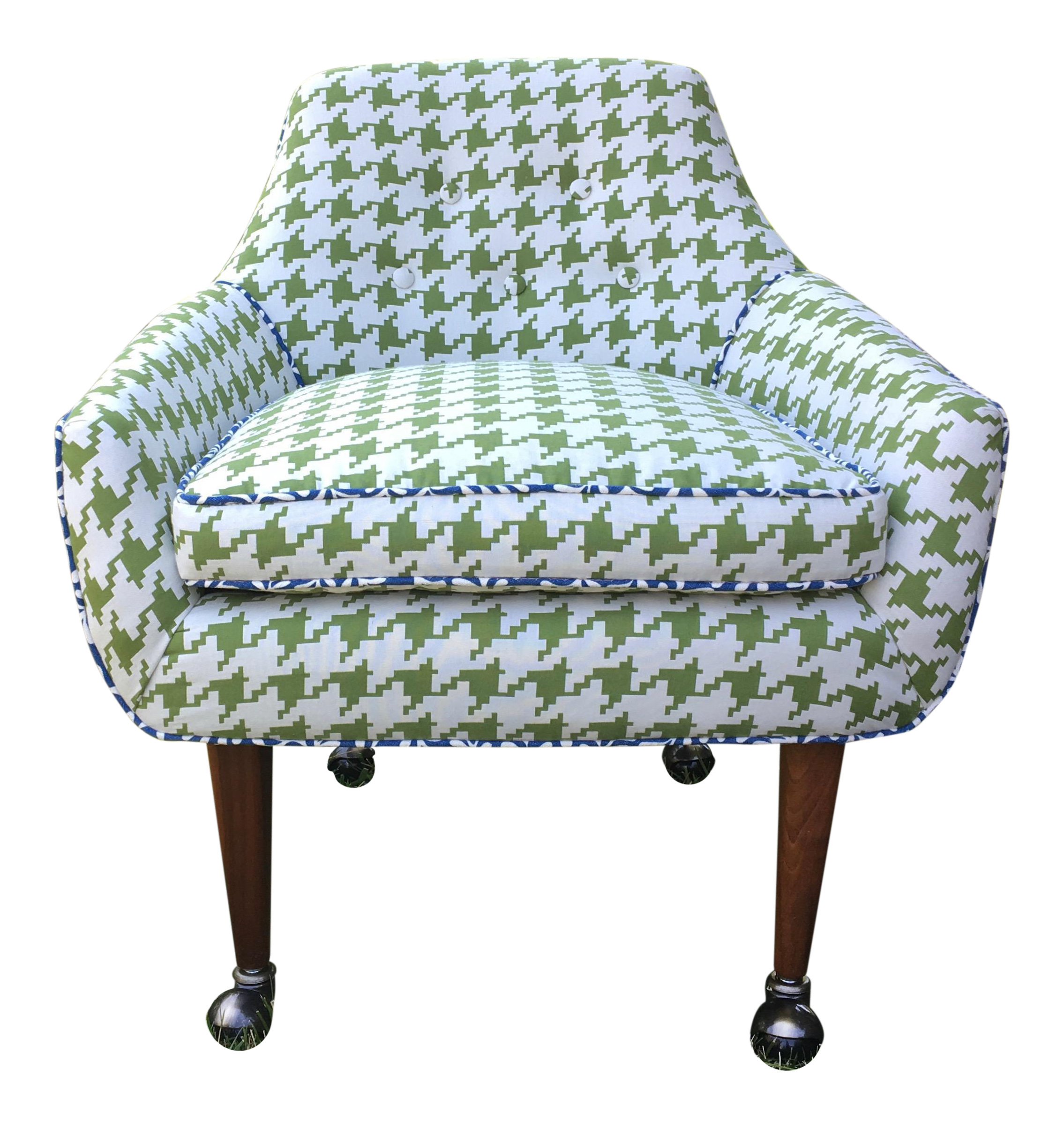 Gentil Mid Century Modern Green And White Houndstooth Accent Chair On Casters
