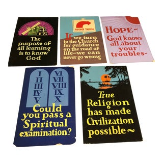 Vintage Art Deco Gothic Church Posters - Set of 5 For Sale