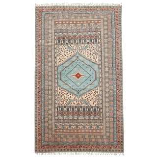 Turkish Ghiordes Oushak Rug With Pastel Colors For Sale