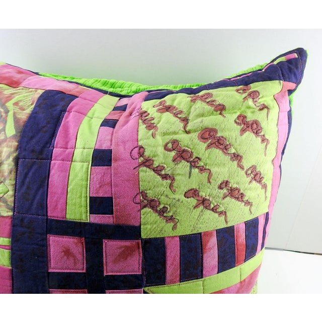 Abstract Vintage Textile Quilt Pillow For Sale - Image 3 of 7